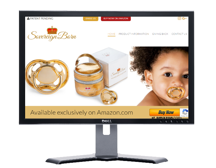 sovereign born baby pacifiers, website by webdesigner Angie from fast cheap websites